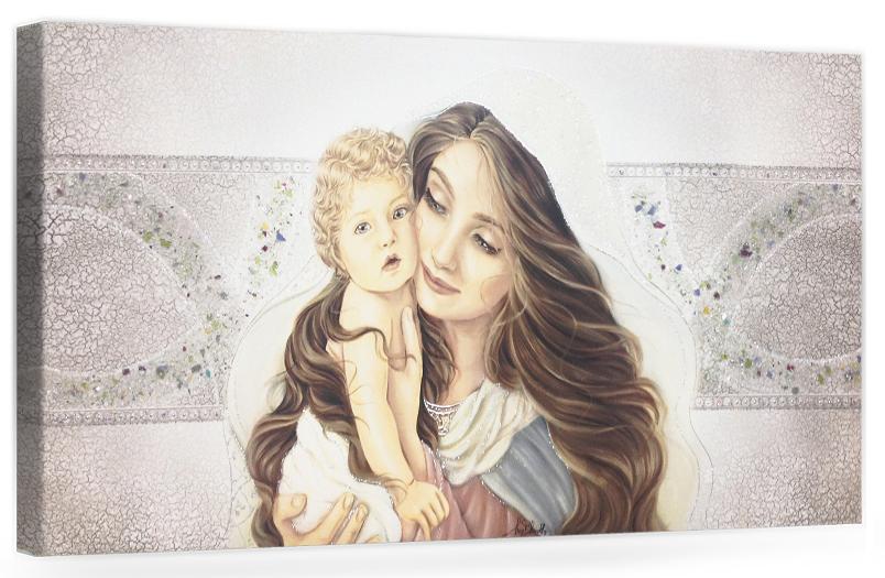 """COD. PRESTIGE09 COLOR. ARG - Capezzale quadro moderno su tela sacro """" Maternità """" Madonna con bambino"""