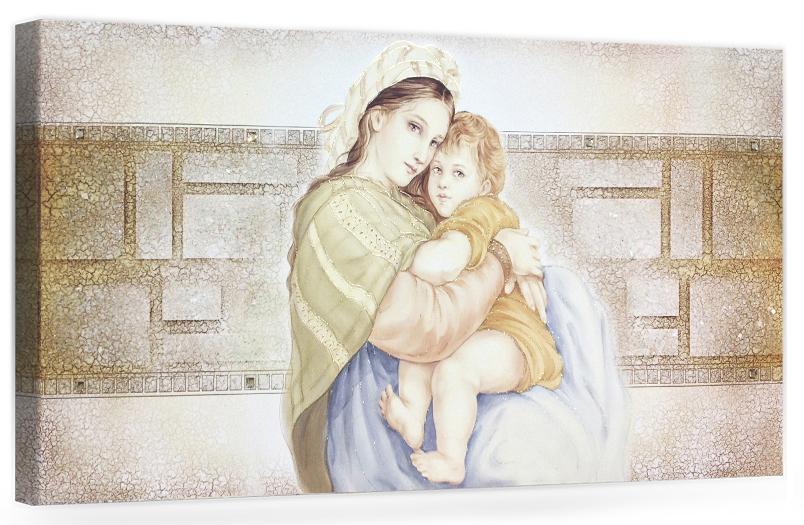 """COD. PRESTIGE12 COLOR. ORO - Capezzale quadro moderno su tela sacro """" Maternità """" Madonna con bambino"""