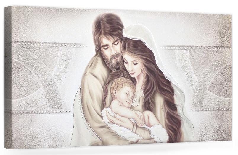 "COD. PRESTIGE201 COLOR ARG - Capezzale quadro moderno su tela sacro "" Sacra Famiglia "" Madonna con banbino e San GIuseppe"